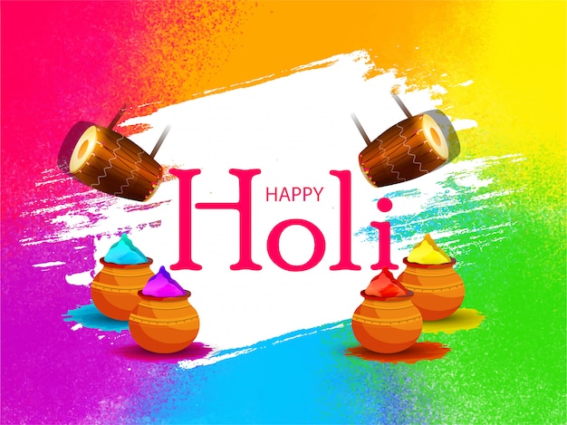 Illustrazione creativa del poster di happy holi