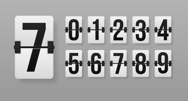 Illustrazione creativa del timer per il conto alla rovescia con numeri diversi. serie di numeri su un tabellone segnapunti meccanico. orologio da banco art. conto alla rovescia contatore ore.