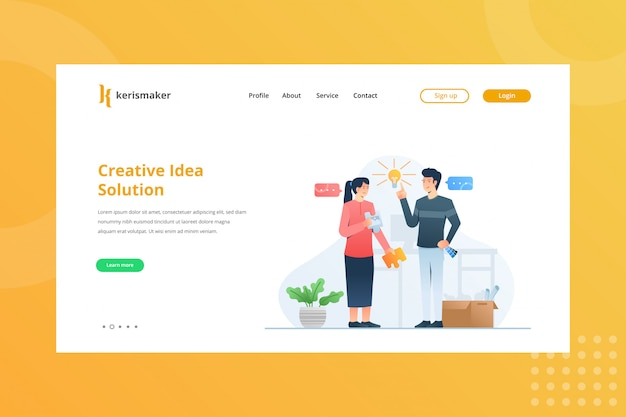 Illustrazione creativa della soluzione di idea per il concetto della gestione di impresa alla pagina di destinazione
