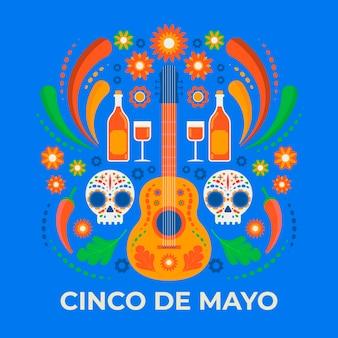 Illustrazione creativa di cinco de mayo con chitarra e teschi