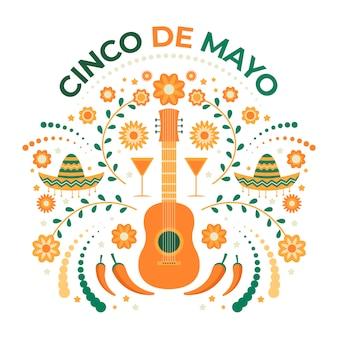 Illustrazione creativa di cinco de mayo con la chitarra