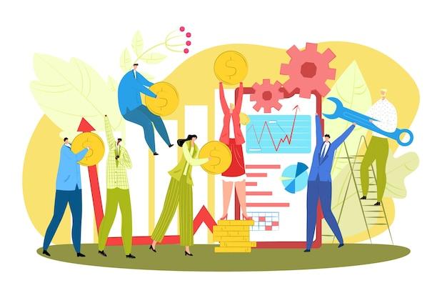 Illustrazione creativa di lavoro di squadra di affari di successo. squadra di uomini d'affari che lavorano insieme e fanno soldi concetto. creatività, successo e collaborazione. collaborazione e pianificazione aziendale.