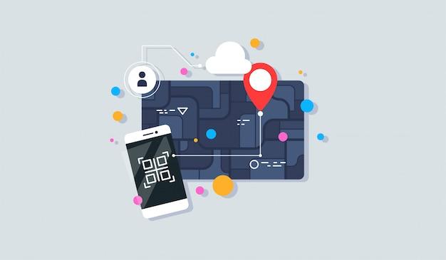 Illustrazione creativa di navigazione della mappa della città sul telefono.