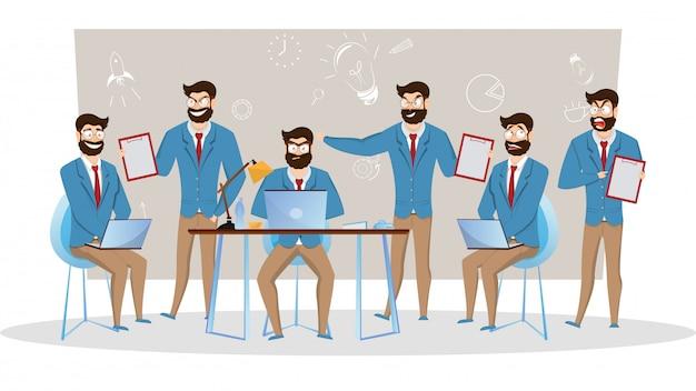 Illustrazione creativa di uomini d'affari in diverse pose