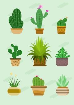 Illustrazione creativa di vettore dell'insieme sveglio della raccolta del cactus