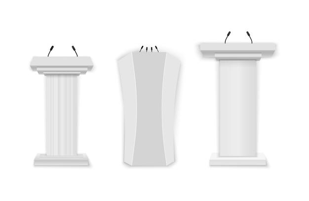 Illustrazione creativa di vettore di una tribuna del podio con i microfoni su uno sfondo trasparente. podio bianco, tribuna con microfoni.