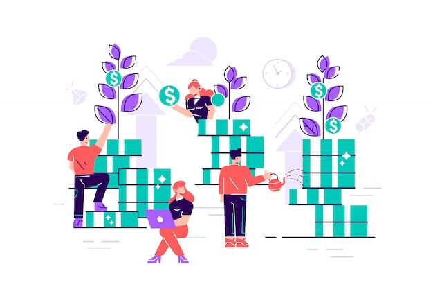 Illustrazione creativa di vettore piatto di grafica aziendale, la società è impegnata nella costruzione congiunta e coltivazione di profitti in contanti, crescita della carriera verso il successo