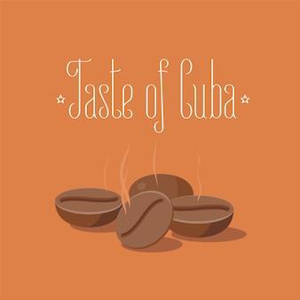 Illustrazione cubana di chicchi di caffè tostati. viaggio a elemento di concetto di cuba