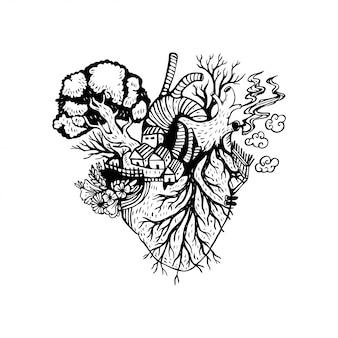 Illustrazione cuore anatomico con incendi boschivi