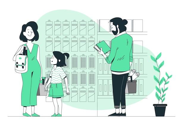 Illustrazione d'acquisto di concetto dei rifornimenti di scuola della gente