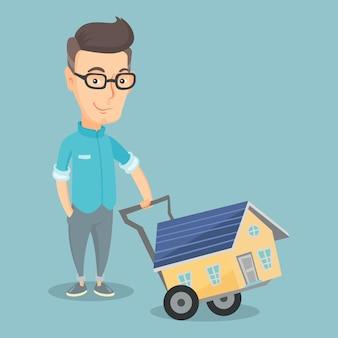 Illustrazione d'acquisto sorridente di vettore della casa dell'uomo adulto