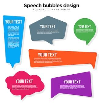 Illustrazione d'angolo arrotondata bolla di discorso variopinto