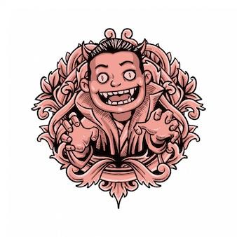 Illustrazione d'annata classica di halloween del bambino di dracula