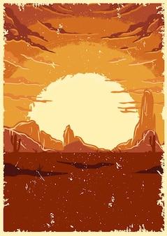 Illustrazione d'annata del paesaggio del deserto