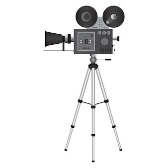 Illustrazione d'annata del proiettore del cinema isolata su bianco