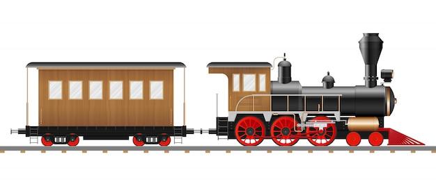 Illustrazione d'annata del vagone e della locomotiva a vapore isolata
