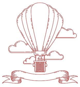 Illustrazione d'annata dell'aerostato di aria di steampunk
