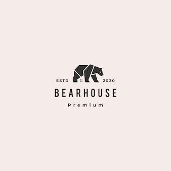 Illustrazione d'annata dell'icona dei pantaloni a vita bassa di logo della casa dell'orso retro