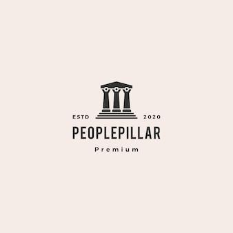 Illustrazione d'annata dell'icona dei pantaloni a vita bassa di logo della colonna della legge della gente retro