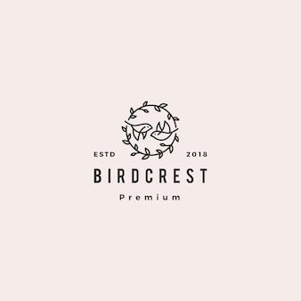 Illustrazione d'annata dell'icona dei pantaloni a vita bassa di logo della cresta della foglia dell'uccello retro per il branding o l'invito di nozze