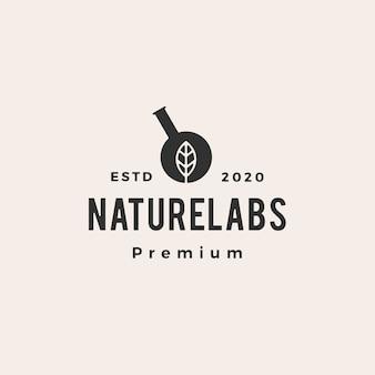 Illustrazione d'annata dell'icona di logo dei pantaloni a vita bassa dei laboratori del laboratorio della foglia di esagono