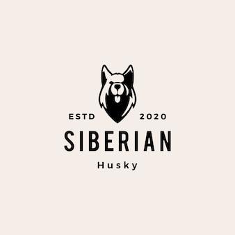 Illustrazione d'annata dell'icona di logo dei pantaloni a vita bassa del cane del husky siberiano