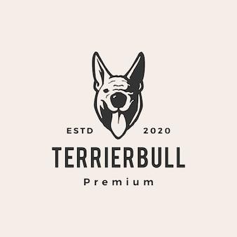 Illustrazione d'annata dell'icona di logo dei pantaloni a vita bassa del cane del toro di terrier