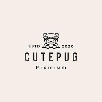 Illustrazione d'annata dell'icona di logo dei pantaloni a vita bassa del cane sveglio del carlino
