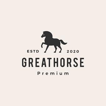 Illustrazione d'annata dell'icona di logo dei pantaloni a vita bassa del cavallo