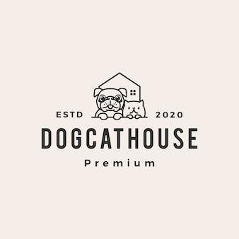 Illustrazione d'annata dell'icona di logo dei pantaloni a vita bassa del gatto del cane della casa per animali domestici