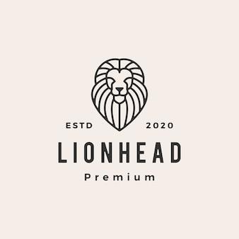 Illustrazione d'annata dell'icona di logo dei pantaloni a vita bassa del profilo della linea della testa del leone