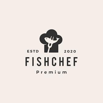 Illustrazione d'annata dell'icona di logo dei pantaloni a vita bassa del ristorante del cappello del cuoco unico del pesce