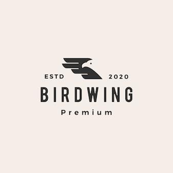 Illustrazione d'annata dell'icona di logo dei pantaloni a vita bassa dell'ala dell'uccello