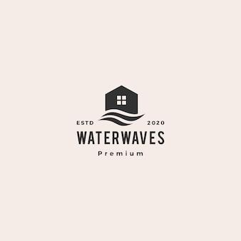 Illustrazione d'annata dell'icona di logo dei pantaloni a vita bassa dell'onda di acqua della camera