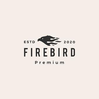 Illustrazione d'annata dell'icona di logo dei pantaloni a vita bassa dell'uccello del fuoco