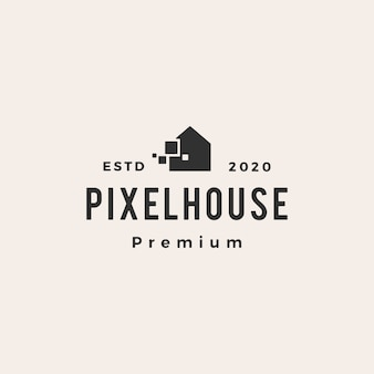 Illustrazione d'annata dell'icona di logo dei pantaloni a vita bassa della casa del pixel