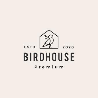 Illustrazione d'annata dell'icona di logo dei pantaloni a vita bassa della casa dell'uccello