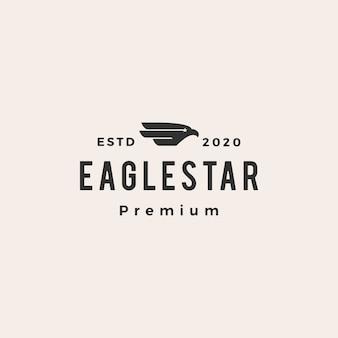 Illustrazione d'annata dell'icona di logo dei pantaloni a vita bassa della stella dell'uccello del falco dell'aquila