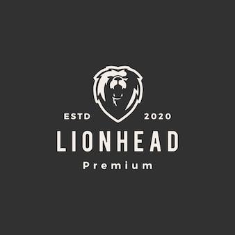 Illustrazione d'annata dell'icona di logo dei pantaloni a vita bassa della testa del leone
