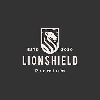 Illustrazione d'annata dell'icona di logo dei pantaloni a vita bassa dello scudo del leone