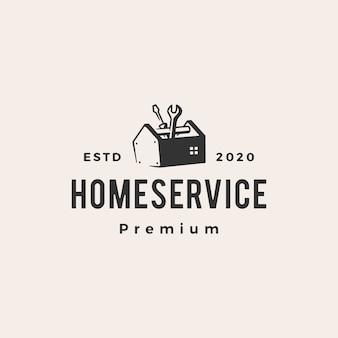 Illustrazione d'annata dell'icona di logo dei pantaloni a vita bassa di servizio della casa domestica