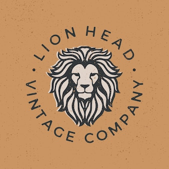 Illustrazione d'annata dell'icona di logo della testa del leone