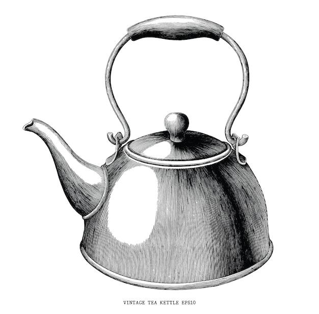 Illustrazione d'annata dell'incisione di tiraggio della mano del bollitore di tè in bianco e nero isolata su fondo bianco