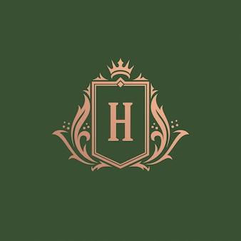Illustrazione d'annata di lusso di vettore di progettazione del modello della cresta del monogramma di logo dell'ornamento.
