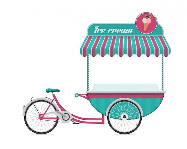 Illustrazione d'annata di vettore del bus del carrello della bicicletta del gelato.