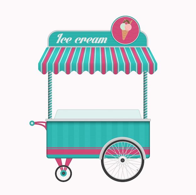 Illustrazione d'annata di vettore del bus del carretto del gelato.