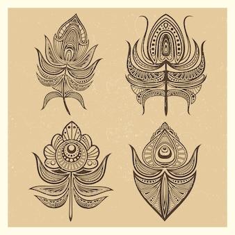 Illustrazione d'annata di vettore delle piume di stile della mandala