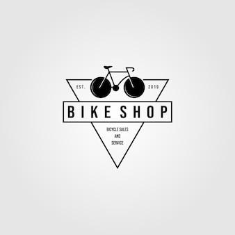 Illustrazione d'annata minimalista di progettazione dell'icona del triangolo del logo del negozio della bici della bicicletta