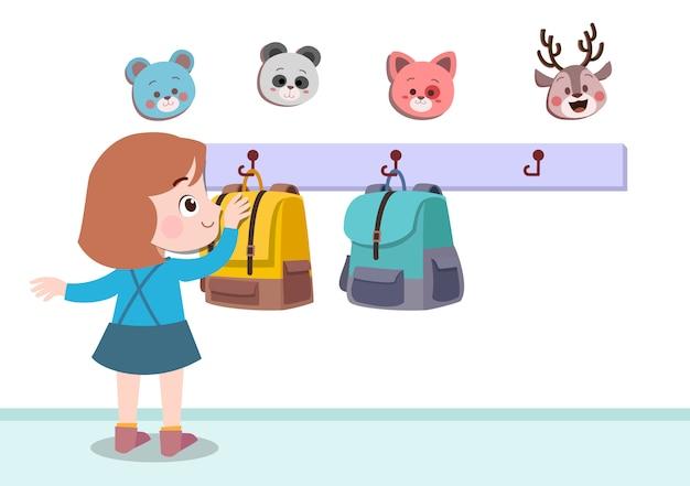 Illustrazione d'attaccatura di vettore della borsa del bambino isolata
