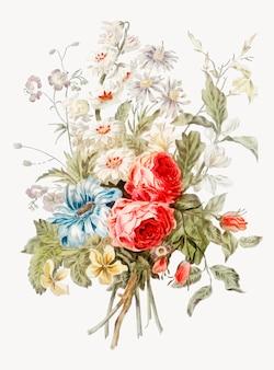 Illustrazione d'epoca del mazzo di fiori